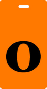 "Luggage Tag - Lower Case ""o"" - Orange/Black - Inventive Travelware"