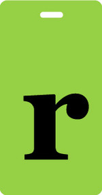 "Luggage Tag - Lower Case ""r"" - Lime/Black - Inventive Travelware"