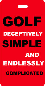 Golf Deceptively Simple - Bag Tag - Red