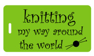 Knitting My Way Around the World Luggage Tag - Lime