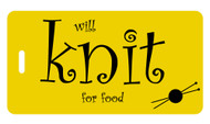 Will Knit for Food - Bag Tag - Yellow