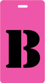 "Luggage Tag - Upper Case ""B"" - Fuchsia/Black - Inventive Travelware"