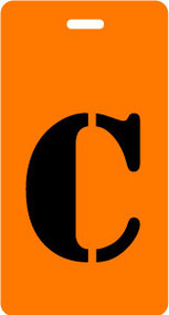 "Luggage Tag - Upper Case ""C"" - Orange/Black - Inventive Travelware"