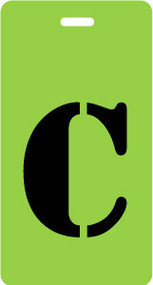 "Luggage Tag - Upper Case ""C"" - Lime/Black - Inventive Travelware"