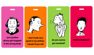Comic People funny luggage tags 4pc set