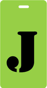 "Luggage Tag - Upper Case ""J"" - Lime/Black - Inventive Travelware"