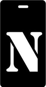 "Luggage Tag - Upper Case ""N"" - Black/White - Inventive Travelware"
