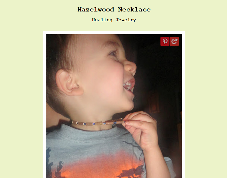 Hazelwood necklace for children with eczema