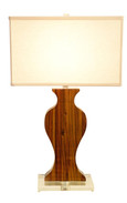 Exotic Wood Urn Silhouette Lamp