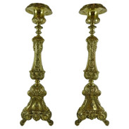 Pair of Continental Antique Brass Pricket Sticks