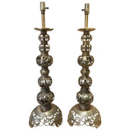 Pair of Large Chinese Brass Table Lamps