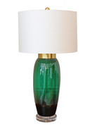 Large Vintage Mid-Century Emerald Green Glass Lamp