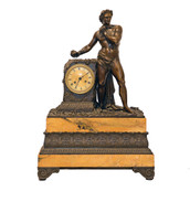 Clock with Bronze Statue
