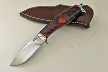 Jim Siska Hand Forged Custom Cocobolo Wood Hunter Knife (Satin)
