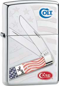 Zippo Colt /Case Old Glory Lighter