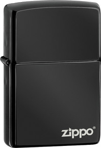 Zippo Ebony Black Lighter With Logo