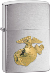 Zippo Lighter Brushed Chrome US Marines