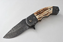 Butch Ball Custom 300 Mammoth Ivory Linerlock Flipper Knife (Damascus)