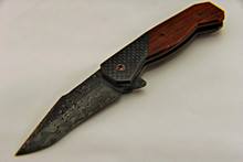 Steven Kelly Scoundrel Damascus Frame Lock Flipper Knife