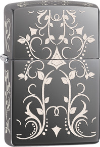 Zippo Filigree Pattern Black Ice Finish Lighter