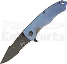 Combative Edge X9 Blue Framelock Flipper Knife (Black Serr)