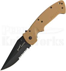 CRKT Crawford Kasper Desert Tan Zytel Linerlock Knife (Black Serr.)