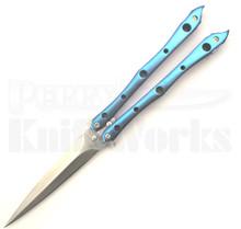 Kyle Vallotton Custom Stinger Dark Blue Butterfly Knife (Satin)