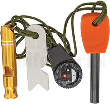 Marbles Survival Combo Kit Compass, Ferro Rod, Striker, Whistle (4 pc)