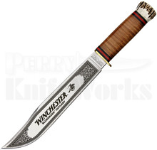 Winchester Stacked Leather & Stag Bowie Knife (Satin Etched)