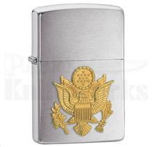 Zippo Army Emblem Brushed Chrome Lighter