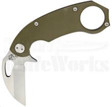 Medford Knife & Tool TFK-1 OD Green Folding Karambit Knife (Raw Satin)