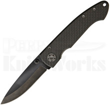 Stone River Gear Black Carbon Fiber Linerlock Knife (Ceramic Black)