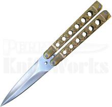 Kyle Vallotton Custom Coffin Bronze Butterfly Knife (Satin)