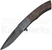 """Jim Minnick Custom Redwood Burl Flipper Knife (4.0"""" Black Oxide)"""