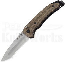 "SOG Kiku Spring Assisted Knife Green Micarta (3.5"" Satin) KU-3001"