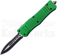 Cutting Edge Heretic Green D/A OTF Knife Spear Point l Two-Tone Serrated