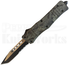 Cutting Edge Heretic Wood Camo D/A OTF Auto Knife Tanto Serrated