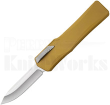 Heretic Knives Cleric Tan OTF Automatic Knife Clip Point Stonewash