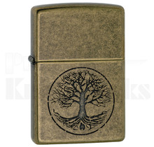 Zippo Tree of Life Antique Brass Lighter 11603
