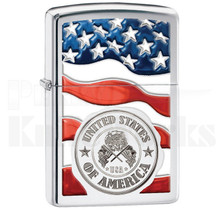 Zippo American Flag Stamp on Flag Polished Chrome 11983