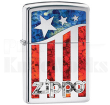 Zippo US Flag Lighter High Polish Chrome 11471