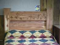 Cedar gunbed headboard shown with optional engraving