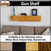 Gun Shelf. Available in White, Black, Natural Oak, and Stained Oak