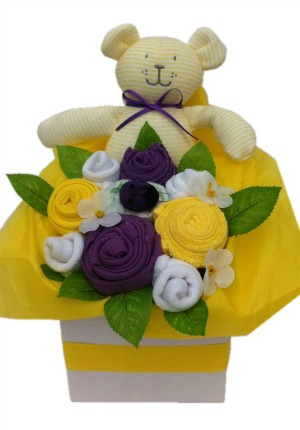 Baby girl bouquet in purple ,yellow and white.jpg