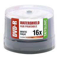 Taiyo Yuden JVC DVD-R 16x Watershield White Inkjet Hub Printable 50pk