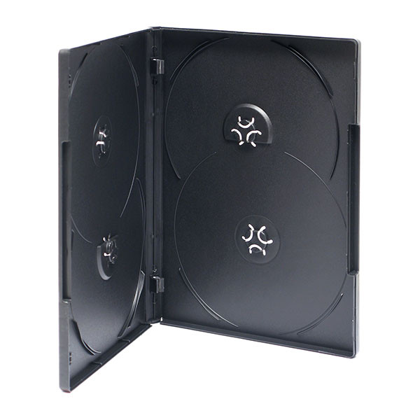 Adtec DVD Box Black 4 Disc Overlay 100pk