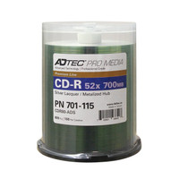 CDR Adtec Pro Silver Laquer/Metalized Hub - 100/Cakebox  **Levy Included*