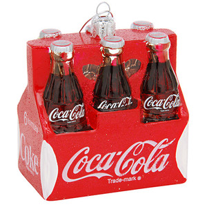 Coca-Cola Six-Pack Glass Christmas Ornament