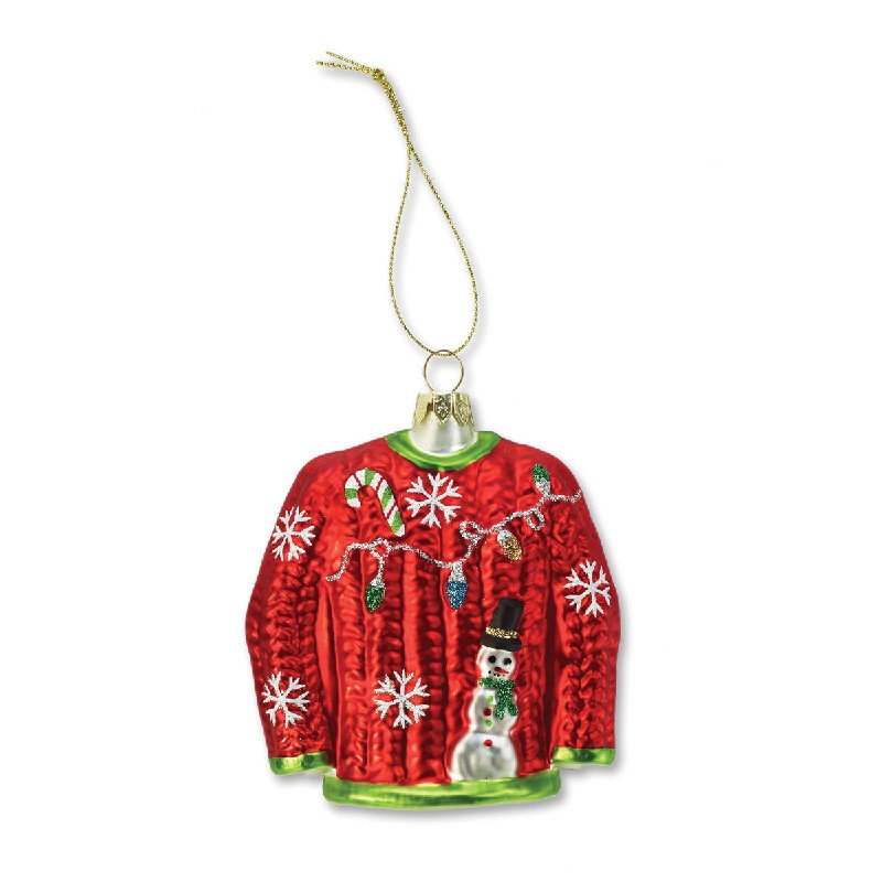 Ugly sweater molded glass ornament retrofestive