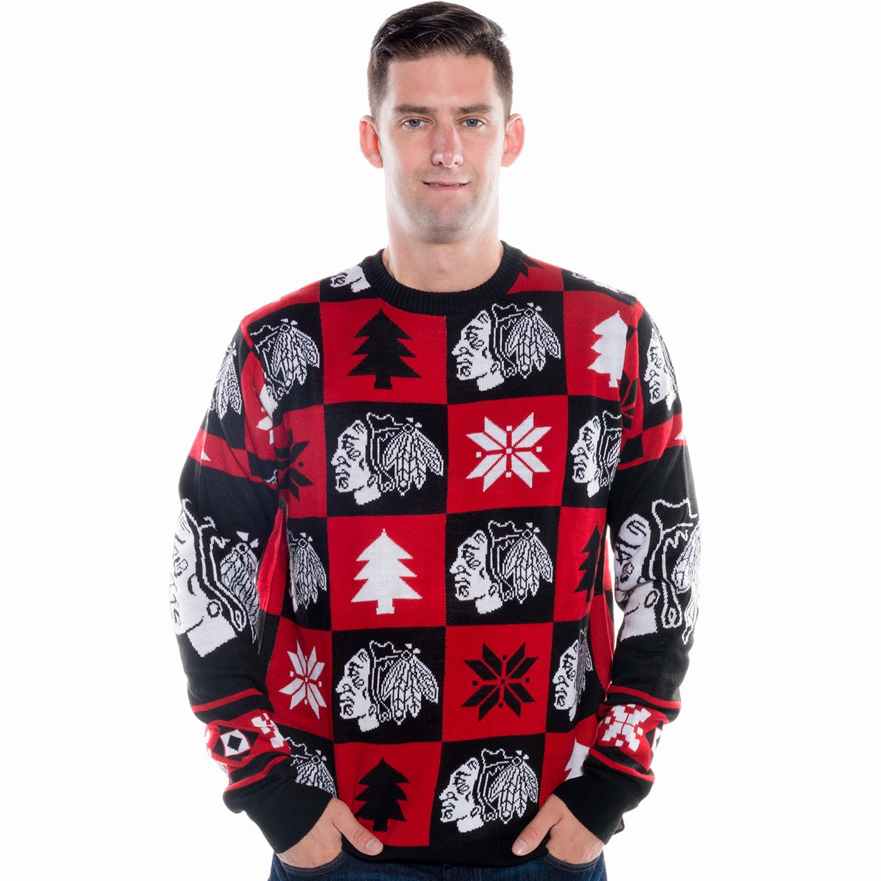 Chicago Blackhawks Ugly Christmas Sweater NHL 2017 | RetroFestive.ca